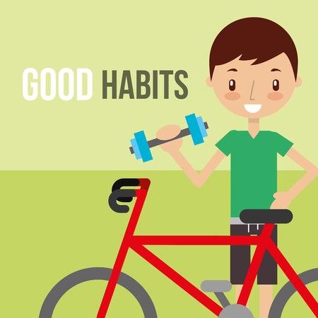 boy training sport dumbbell bike cardio healthy vector illustration