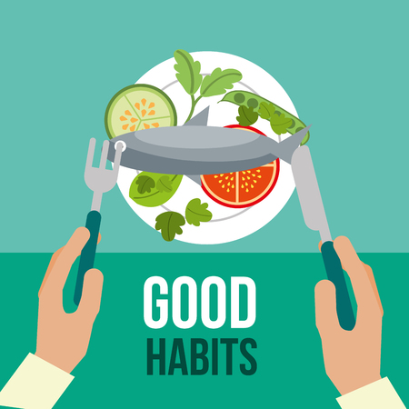 hands with healthy food good habits vector illustration