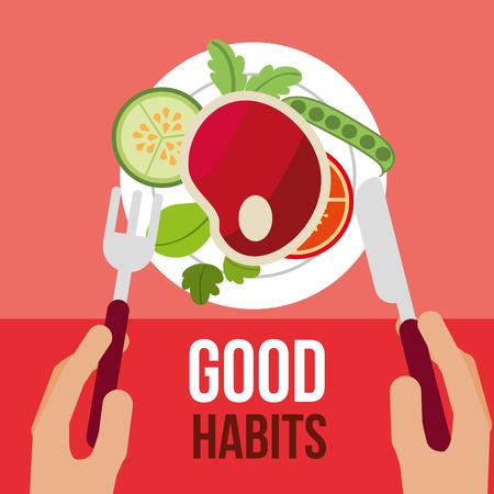 manos con comida sana buenos hábitos vector illustration Ilustración de vector