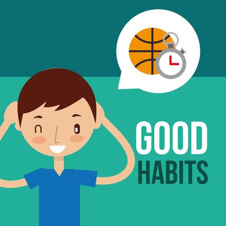 cute boy exercise healthy good habits vector illustration