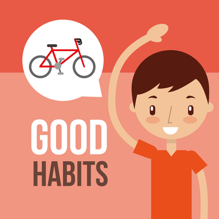 cute boy exercise healthy good habits vector illustration