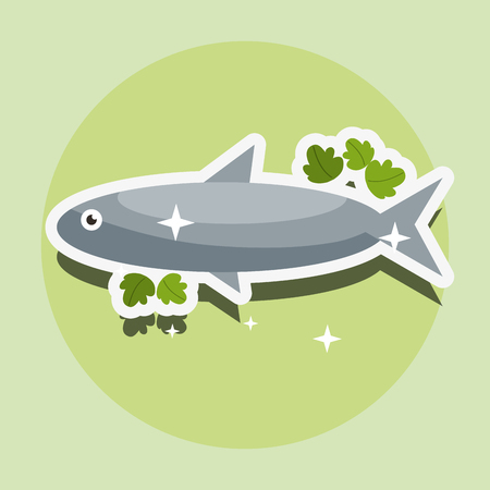 fresh fish nutrition food healthy vector illustration Çizim