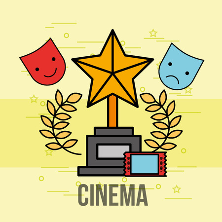 award trophy star theatrical cinema vector illustration