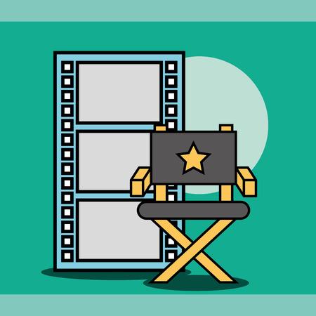 director chair and film strip cinema vector illustration Çizim