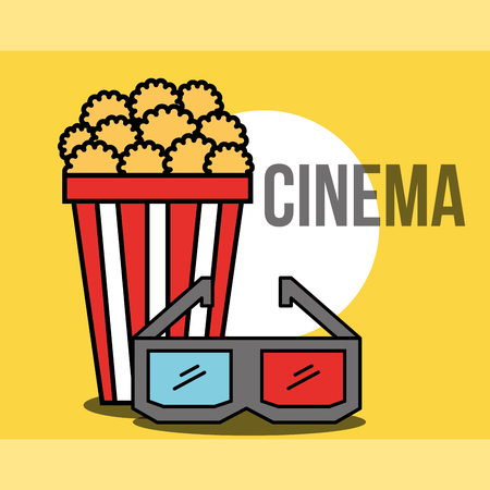 bucket popcorn and 3d glasses cinema vector illustration