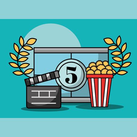 movie countdown frame popcorn and movie clapper cinema vector illustration
