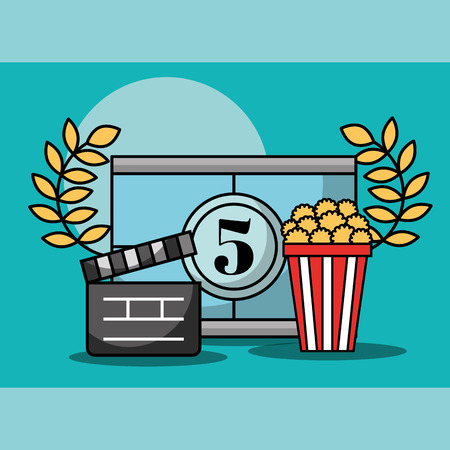 movie countdown frame popcorn and movie clapper cinema vector illustration