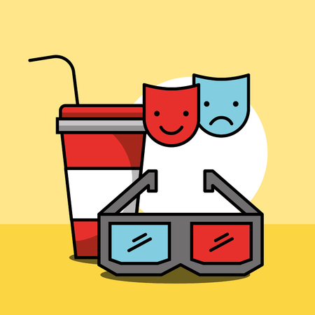 cup soda 3d glasses comedy and tragedy masks cinema vector illustration