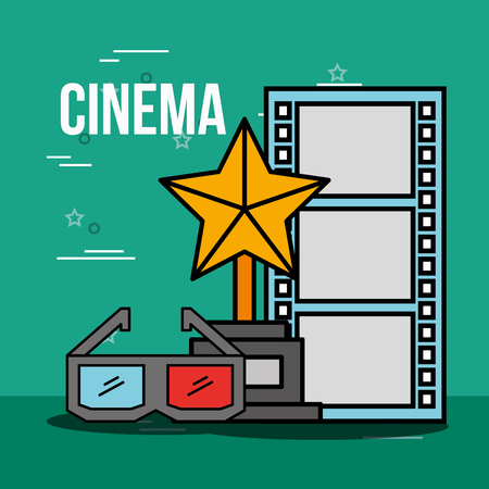 award trophy 3d glasses and film strip cinema vector illustration