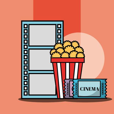 film strip cinema popcorn ticket cinema vector illustration