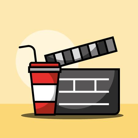 film movie clapper and soda cinema vector illustration Illustration