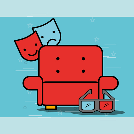 comedy and tragedy masks sofa and 3d glasses cinema vector illustration