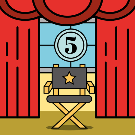 director chair movie countdown frame and curtains theater cinema vector illustration