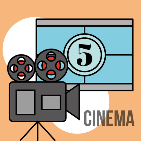 film movie projector movie countdown frame cinema vector illustration