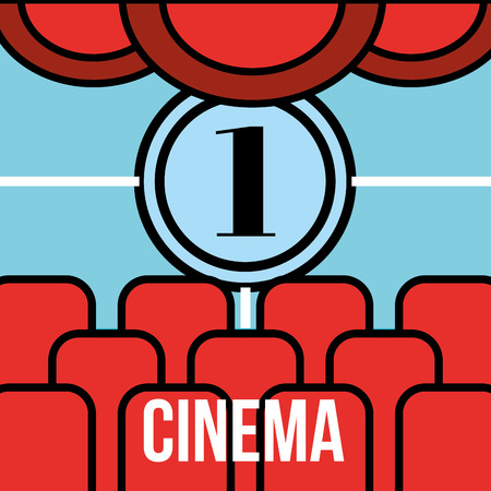 theater seats and movie countdown frame cinema vector illustration