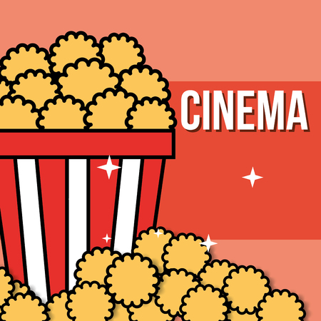 bucket popcorn delicious food cinema vector illustration Иллюстрация