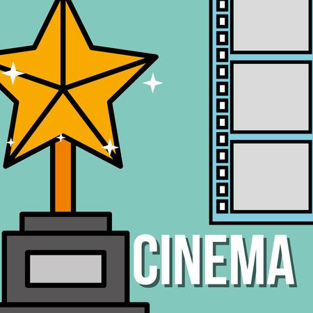 golden trophy star award film strip cinema vector illustration Illustration