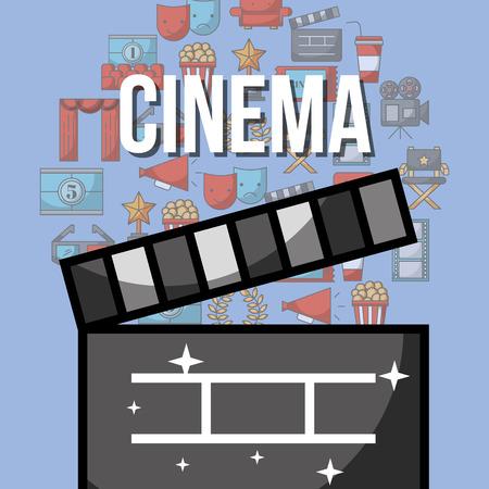 movie film clapper cinema design vector illustration  イラスト・ベクター素材