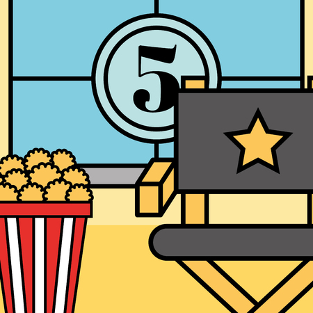 movie countdown frame director chair and popcorn cinema vector illustration