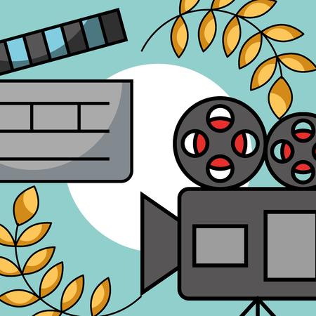 film projector and movie clapper cinema emblem vector illustration