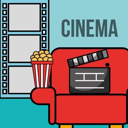 seat movie clapper board popcorn cinema vector illustration Çizim