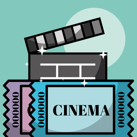 movie film clapper board tickets cinema vector illustration