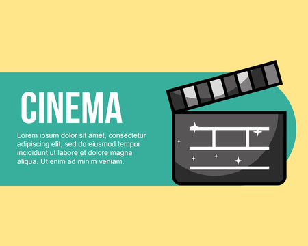 film clapper movie cinema banner vector illustration