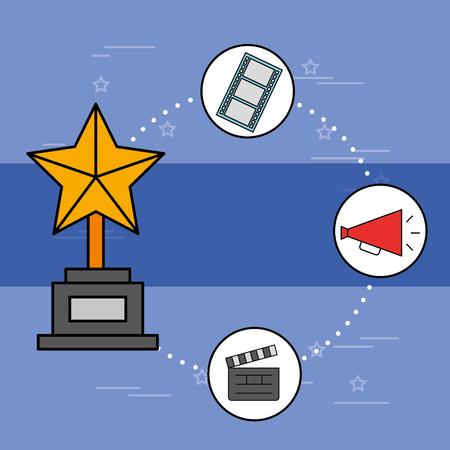golden star trophy award clapper megaphone vector illustration