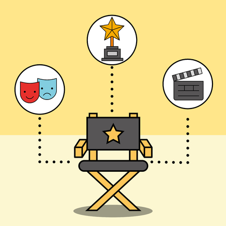 director chair comedy and tragedy mask trophy vector illustration