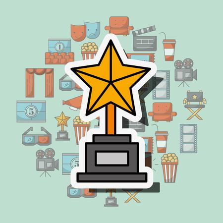 golden star award trophy movie cinema vector illustration