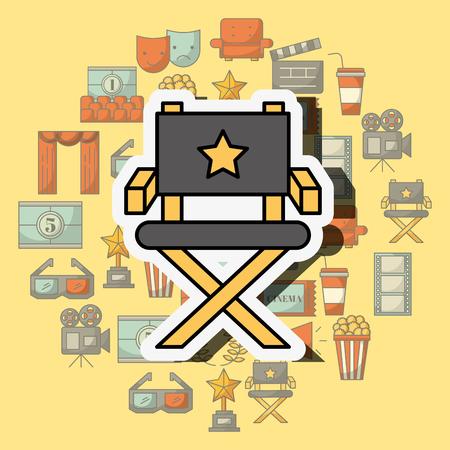 director chair film equipment movie vector illustration Imagens - 103674100