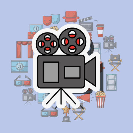 film projector reel to reel tape movie vector illustration