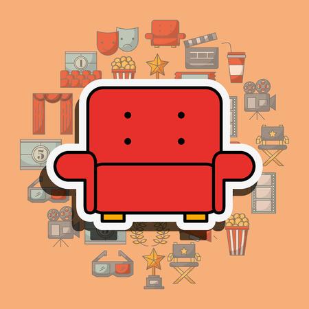 red sofa comfort cinema movie furniture vector illustration
