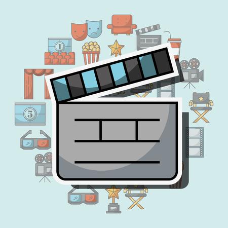 movie film clapper board equipment vector illustration