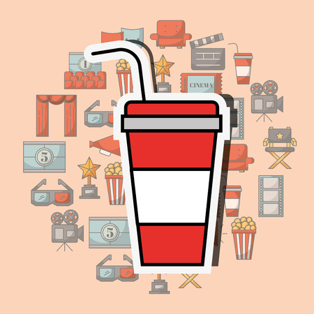 disposable paper soda cup with straw vector illustration