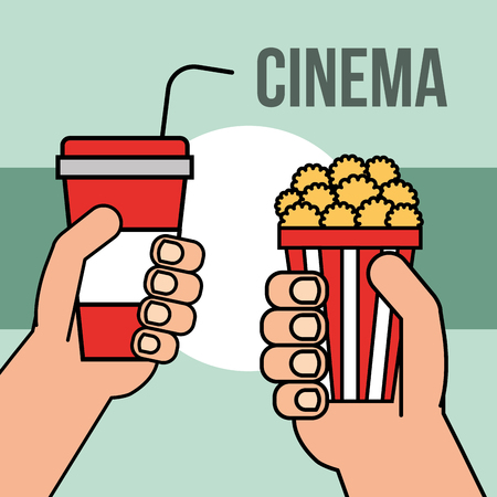 hands with soda and popcorn cinema vector illustration