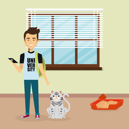 young man with cute mascot in the house vector illustration design Ilustrace
