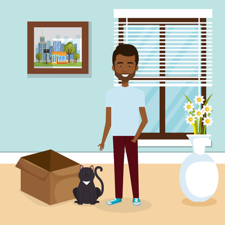 young man with cute mascot in the house vector illustration design Illustration