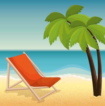 summer holidays beach scene vector illustration design