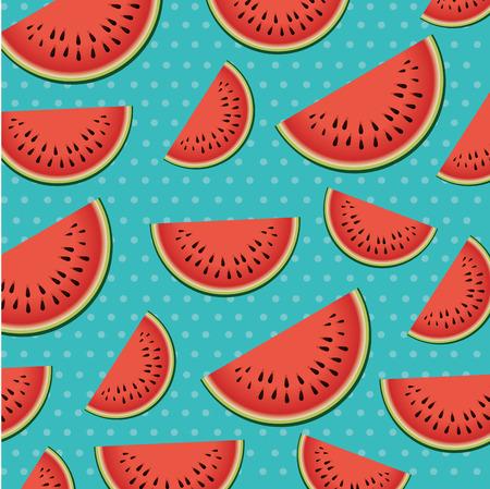 fresh watermelons sliceds pattern vector illustration design