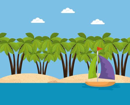 summer time scene with sailboat vector illustration design