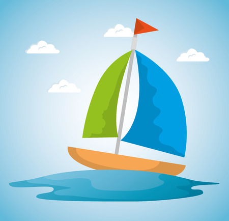 summer time scene with sailboat vector illustration design