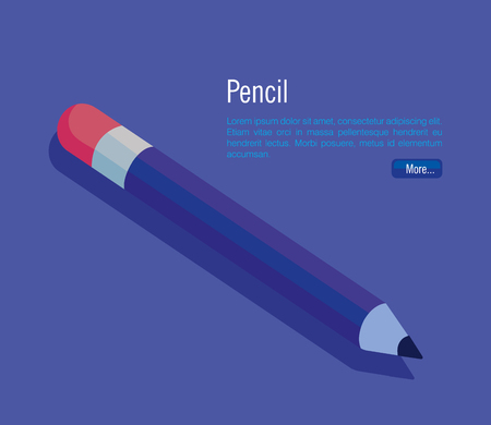 pencil school isometric icon vector illustration design Иллюстрация