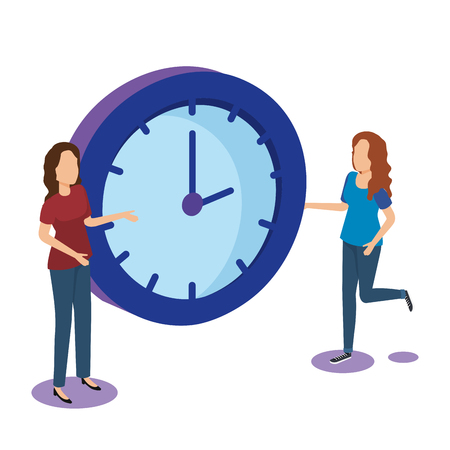 time clock with teamwork isometric icon vector illustration design 向量圖像