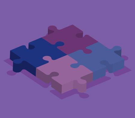 puzzle pieces isometrics icons vector illustration design 版權商用圖片 - 103520438