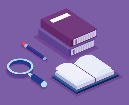 education set isometric icons vector illustration design