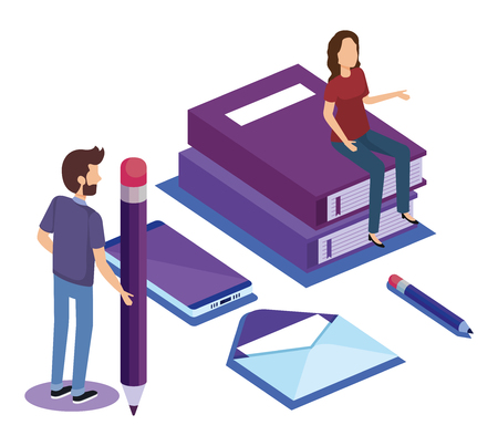 education icons with teamwork paople isometric vector illustration design
