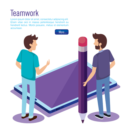digital technology with teamwork people isometric vector illustration design  イラスト・ベクター素材