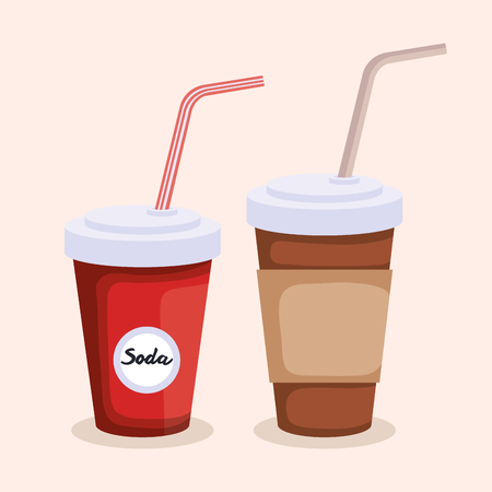 soda and coffee in plastic container vector illustration design Ilustração