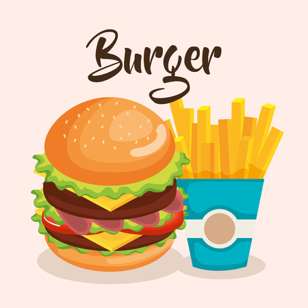 delicious big burger and french fries vector illustration design